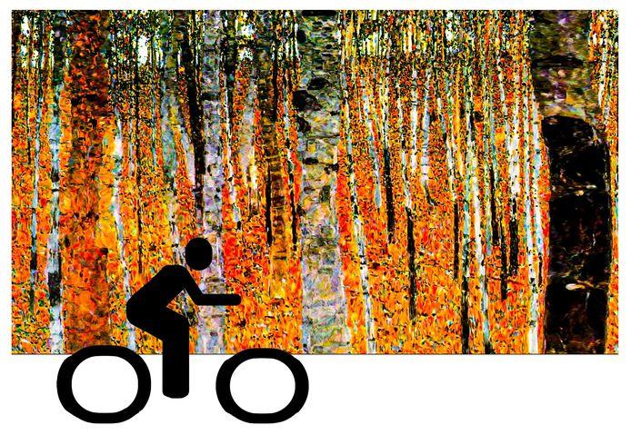 Poster van de kunstzinnige fietstocht.