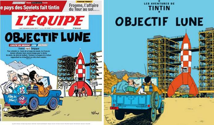 Rechts het origineel, links de parodie van L'Equipe.