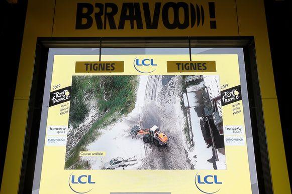 Het podium in Tignes zag er zo uit.