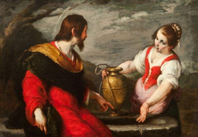 Het schilderij Christus en de Samaritaanse vrouw bij de bron, in 1635 gemaakt door Bernardo Strozzi.