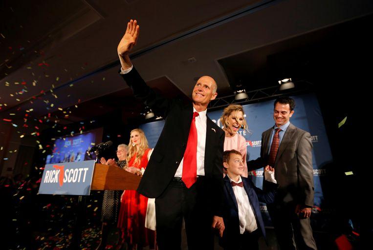 In Florida is het al urenlang bijzonder spannend: kan huidig gouverneur Rick Scott er een cruciale senaatszetel afsnoepen van de Democraten? Beeld REUTERS
