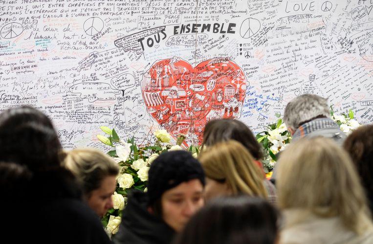 Herdenkingsmuur voor de slachtoffers in het metrostation van Maalbeek. Beeld BELGA