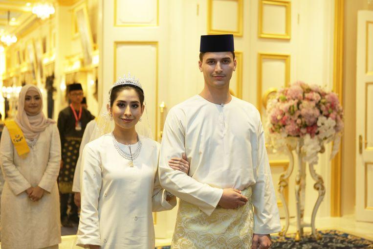 Dennis Verbaas en zijn vrouw Tunku Tun Aminah Maimunah Iskandariah Sultan Ibrahim