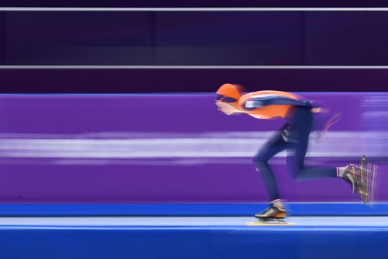 De Nederlandse ontdekking Esmee Visser schaatst naar olympisch goud op de 5.000 meter. Beeld AFP