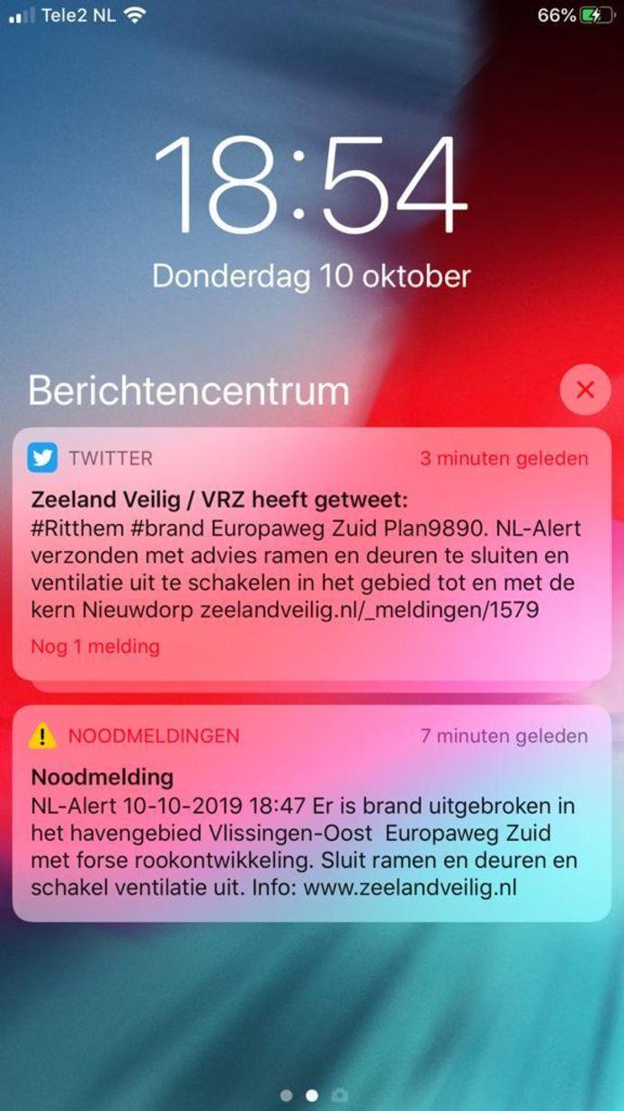 De NL-Alert en tweet van de VRZ.