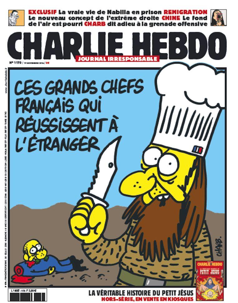 Een van de covers van Charlie Hebdo, in november vorig jaar. Beeld Charlie Hebdo
