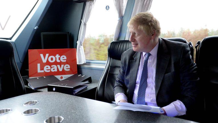 Boris Johnson in zijn Brexit-campagnebus. Beeld anp