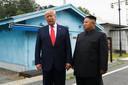 Trump tijdens zijn ontmoeting met de Noord-Koreaanse dictator Kim Jong-un in juni 2019