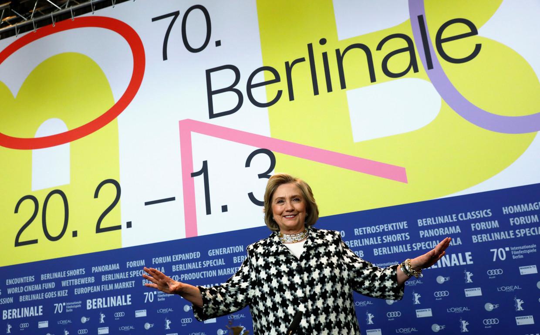 Ex-first lady Hillary Clinton kwam haar documentaire 'Hillary' voorstellen tijdens het 70ste Filmfestival in Berlijn.  Beeld REUTERS