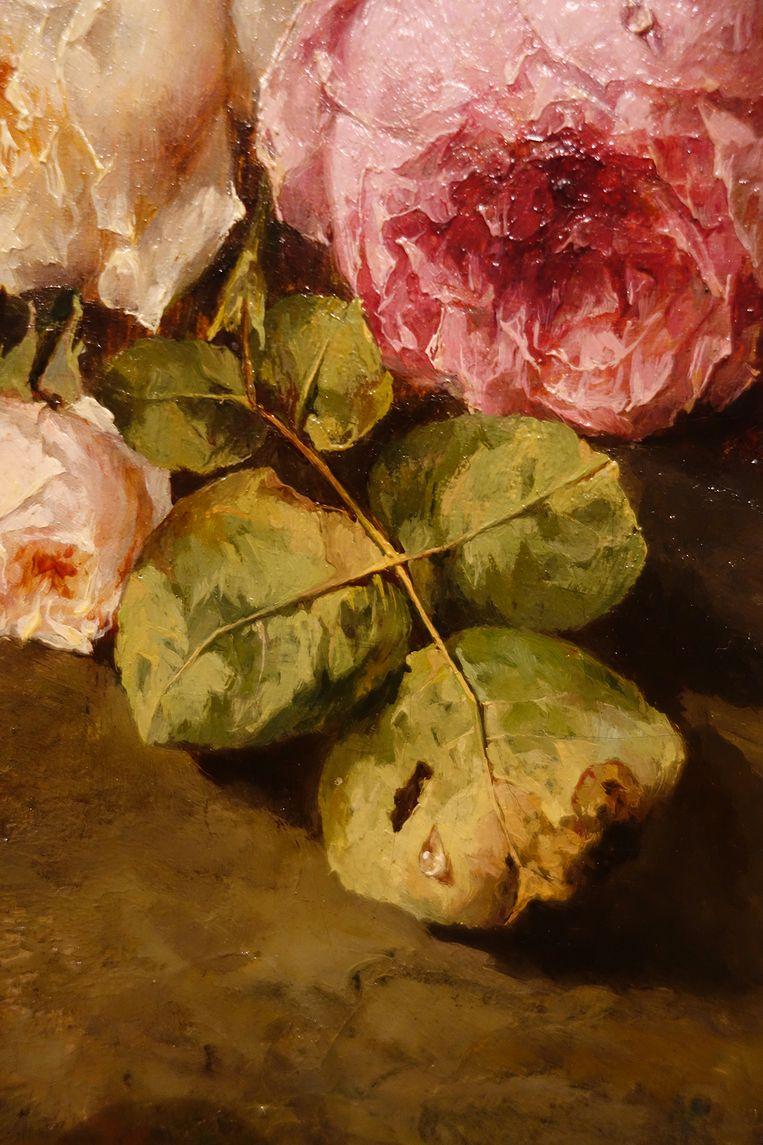 Detail uit 'Stilleven van rozentakken', 1863-96, van Margaretha Roosenboom. Beeld Museum Arnhem