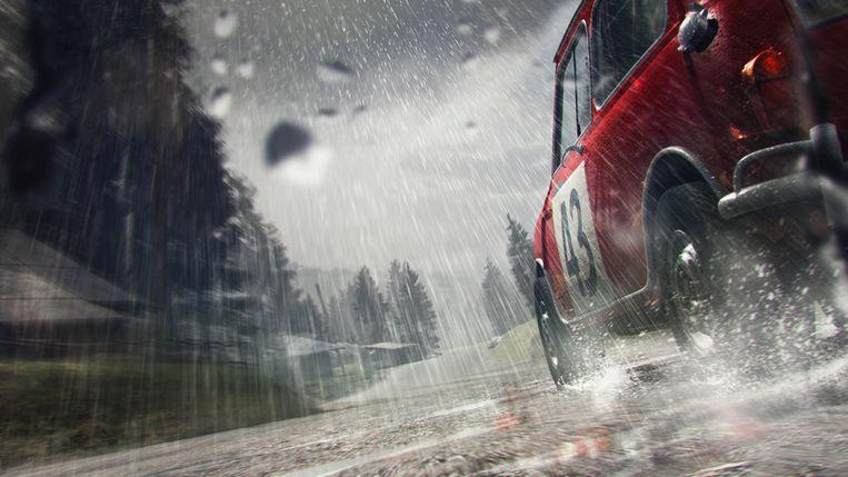 Realistische regendruppels in de rally-replica DiRT 3. (Beeld Codemasters) Beeld