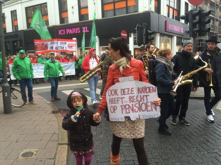 Vakbondsbetoging in Antwerpen. Beeld MLS