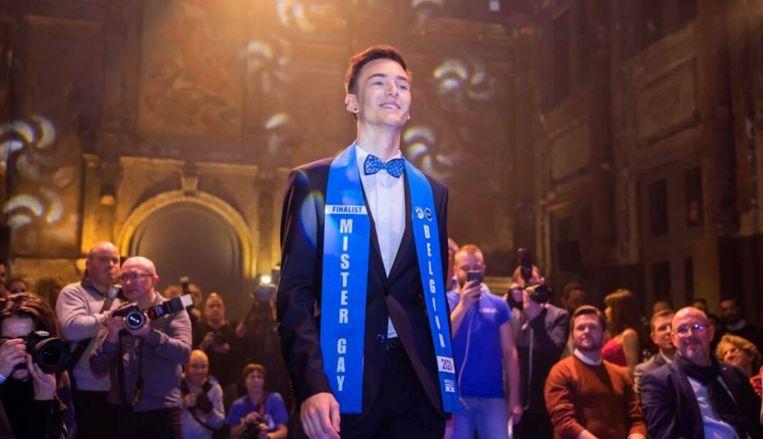 Joren Houtevels als finalist Mister Gay Belgium. Beeld Foto rv