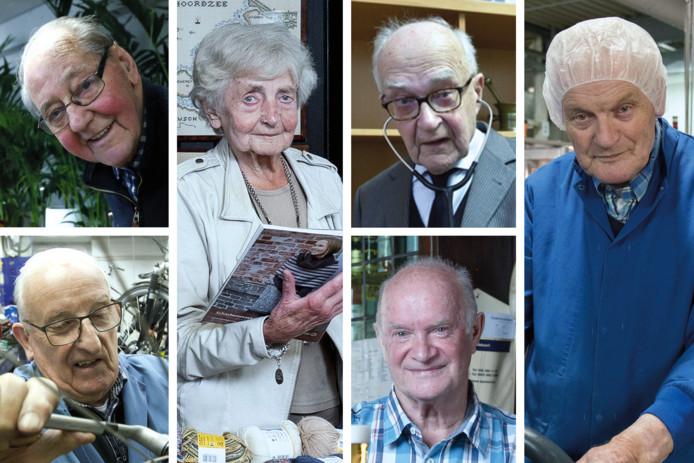 (Vlnr) Bloemist Frans Verhoeks (90), fietsenmaker Jaap Bos (83), Annie Mes (96) in haar wolwinkel, huisarts Kees Kentie (83), kastelein Paul van Egmond (75) en Jan Schaap (85) al 60 jaar in dienst van pepernotenfabriek Van Delft.
