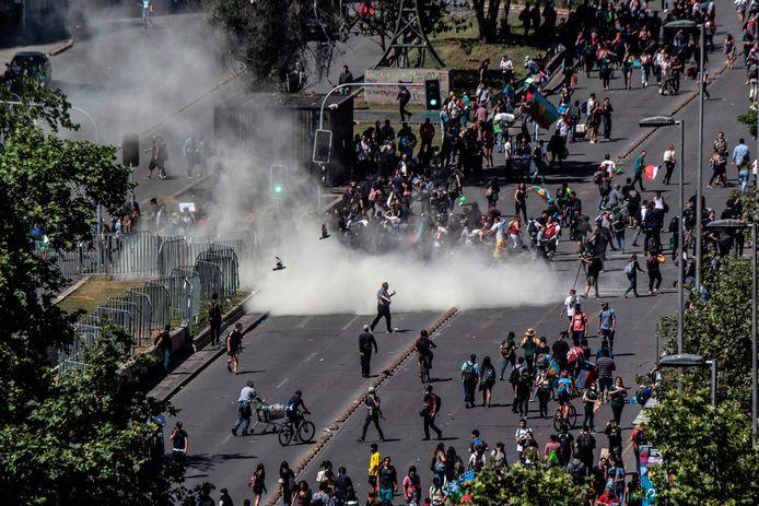 Protest in Santiago gisteren.
