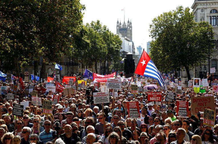De straten rond Downing Street in Londen stromen vol met anti-brexitdemonstranten. Beeld REUTERS