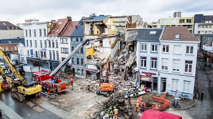 Het huis geraakte volledig vernield door de ontploffing.