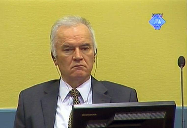De Bosnisch-Servische generaal Ratko Mladic tijdens een zitting van het Joegslavië-tribunaal in Den Haag. Beeld Hollandse Hoogte/AFP