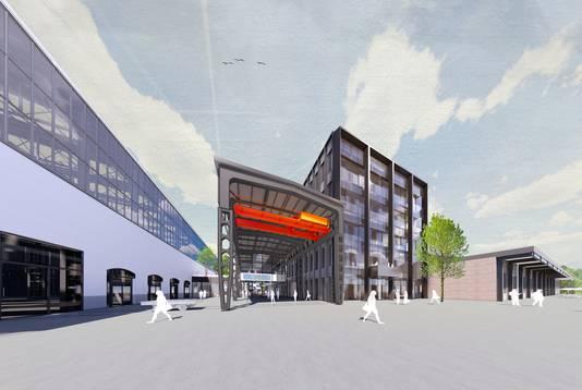 Een impressie van de voorgevel van Mindlabs in Tilburg. Mindlabs krijgt vijf verdiepingen en wordt daarmee een stuk hoger dan de LocHal (links).