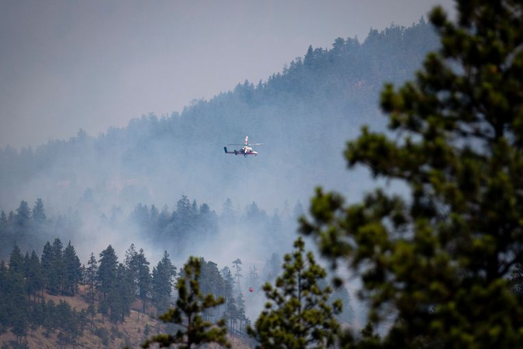 Helikopters worden ingezet om de branden in het gebied te blussen. (02/07/2021) Beeld AP