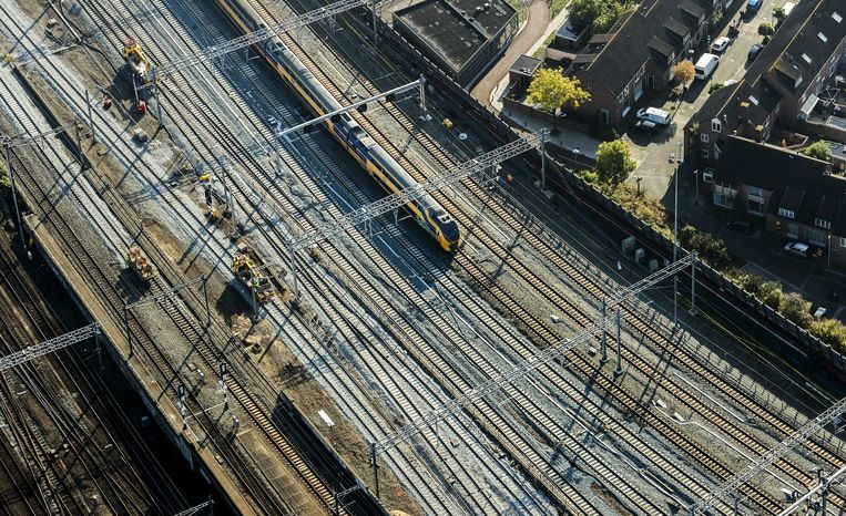 Luchtfoto van de spoorvernieuwing rondom treinstation Utrecht Centraal.  Beeld ANP