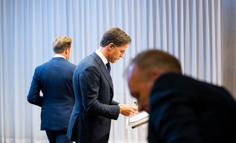 Premier Rutte bij de persconferentie vrijdag, waarvoor hij nu excuses maakt. Beeld Freek van den Bergh / de Volkskrant