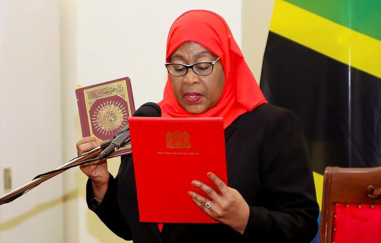 Tanzania's nieuwe president Samia Suluhu Hassan.  Beeld REUTERS