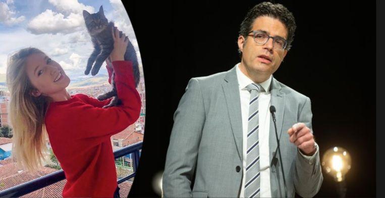 Baasje Selena Ali (23) met kater Lee. Prof. dr. Steven Van Gucht is naast viroloog ook deskundige in hondsdolheid. Beeld rv - photo_news