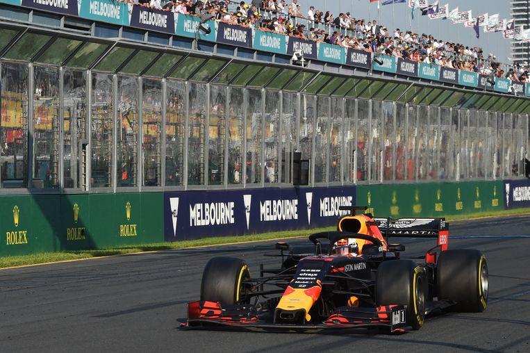 Max Verstappen in Melbourne in 2019. Vorig jaar en dit jaar wordt de GP van Australië afgelast.  Beeld EPA