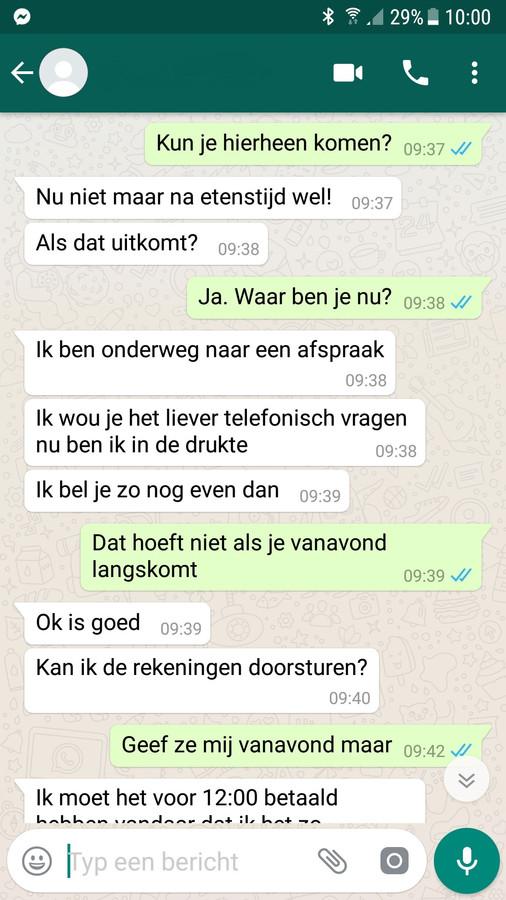 Poging tot WhatsApp-fraude met gegevens van een vrouw uit Toldijk. De naam en foto zijn weggewerkt om haar privacy te beschermen.