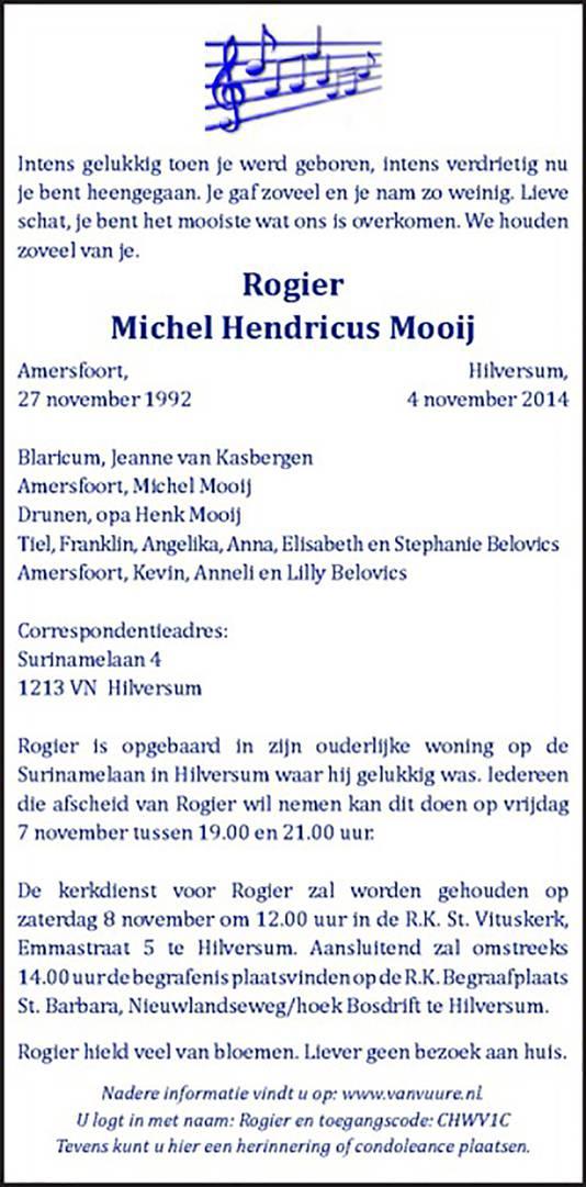 De overlijdensadvertentie van Rogier.