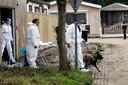Onderzoek door politie op het woonwagenkamp aan de Westlandse Langeweg in Steenbergen waar het lichaam van Johan van der Heyden (deels) zou zijn verbrand.