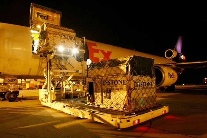 Een FedEx-toestel op de luchthaven van Bierset, bij Luik.
