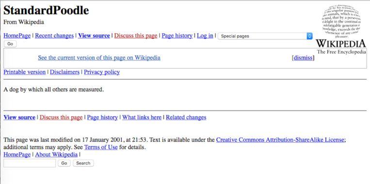 Zo zag Wikipedia er in 2001, met een van de eerste lemmata: die over de poedel. 'Een hond waaraan alle anderen worden afgemeten'. Beeld Wikipedia