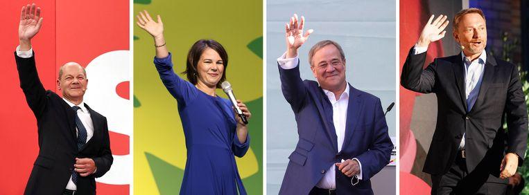 Olaf Scholz van de SPD, Annalena Baerbock van de  Groenen, Armin Laschet van de CDU en FDP'er Christian Lindner. Beeld EPA