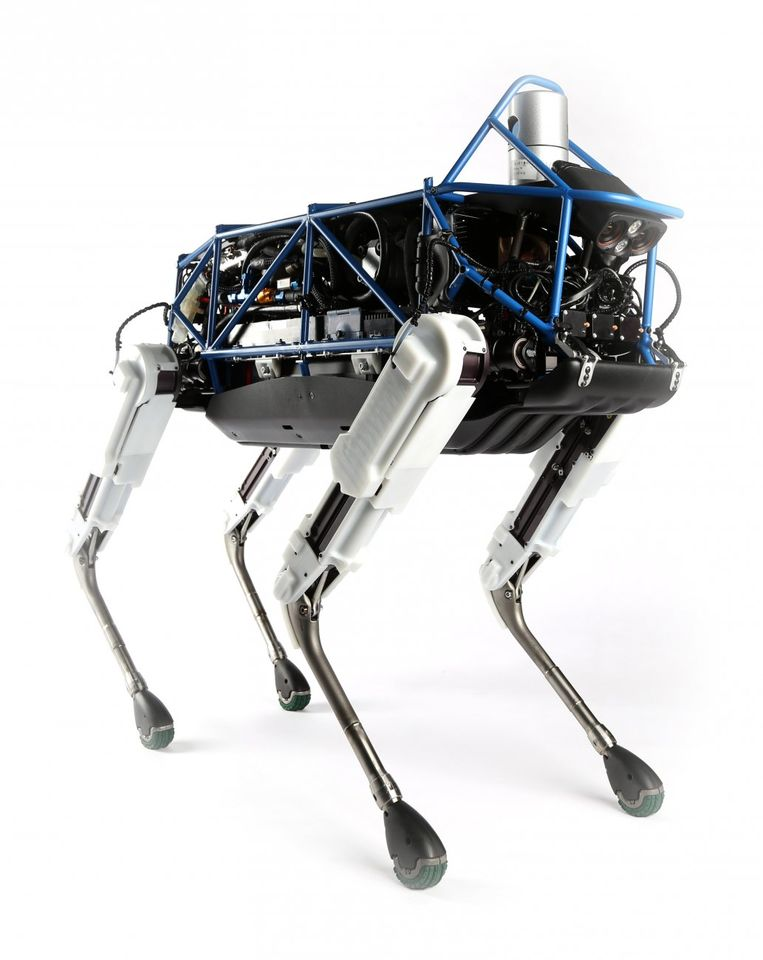 Spot, de wereldberoemde cyberhond van de Amerikaanse robotbouwer Boston Dynamics.  Beeld rv