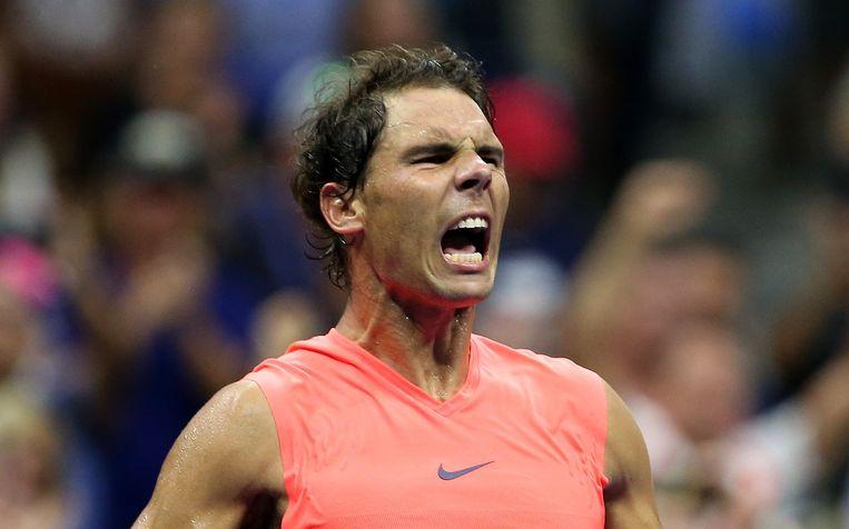 Rafael Nadal schreeuwt het uit na zijn felbevochten zege teegen Khachanov.