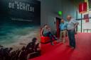 Robert Catsburg, Louis Minnebach en Jan van Elzakker tijdens de nabespreking van De Slag om De Schelde in de C-Cinema van Bergen op Zoom.