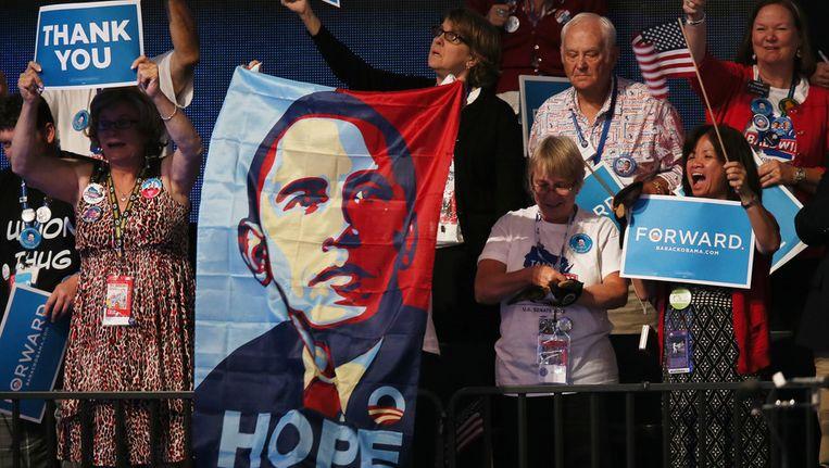 Publiek tijdens de toespraak van Obama. Beeld getty