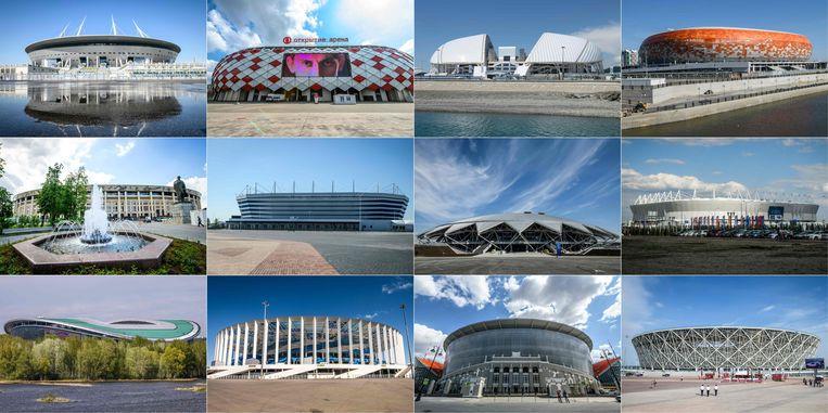 De 12 Russische voetbaltempels en hun capaciteit: (top v.l.n.r.) Sint-Petersburg Stadium (67.000), Spartak Stadium (Moskou, 45.000), Fisht Stadium (Sochi, 48.000), Mordovia Arena (Saransk, 44.000); (midden v.l.n.r.) Luzhniki Stadium (Moskou, 80.000), Kaliningrad Stadium (35.000), Samara Arena (45.000), Rostov Arena (45.000); (onder v.l.n.r.) Kazan Arena (45.000), Nizhny Novgorod Stadium (45.000), Ekaterinburg Arena (35.000), Volgograd Arena (45.000). Beeld AFP