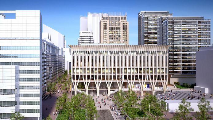 Het ontwerp voor het cultuurcomplex aan het Spui, van architecten Jo Coenen en Patrick Fransen.