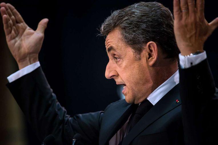 Nicolas Sarkozy spreekt op een partijbijeenkomst op 25 september. Beeld afp