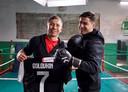 Ronaldo werd geïnterviewd door de Kazakse bokser Gennady Golovkin.