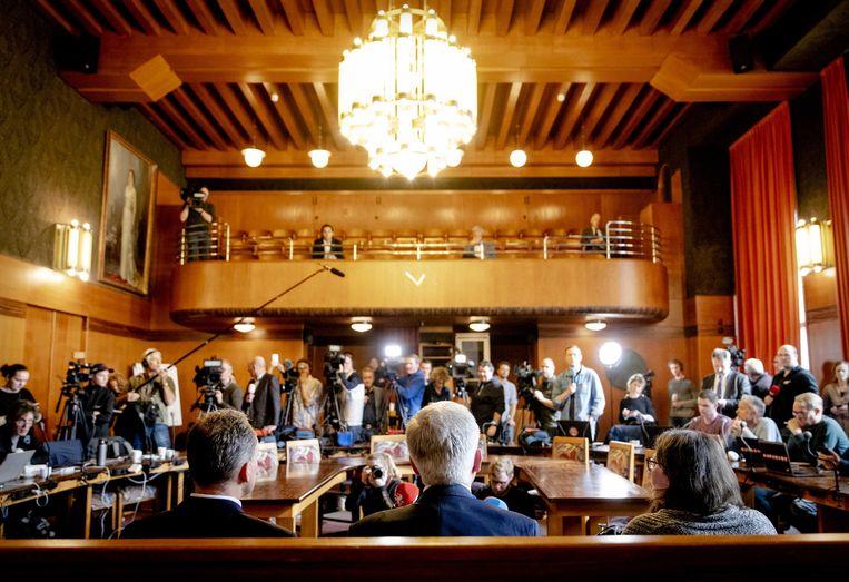 Op een persconferentie in Tilburg wordt het eerste Nederlandse coronageval gemeld.  Beeld ANP