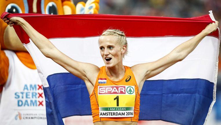 De 23-jarige atlete won vandaag bij de EK atletiek in Amsterdam de zevenkamp. Beeld epa