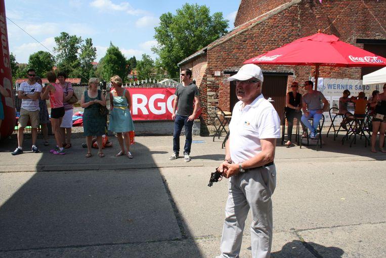 Gaston Roelants klaar om het startschot te geven van een vorige run