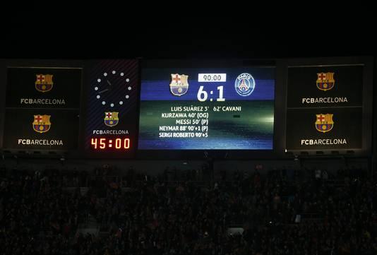 Het staat er echt: 6-1 bij Barcelona-PSG!