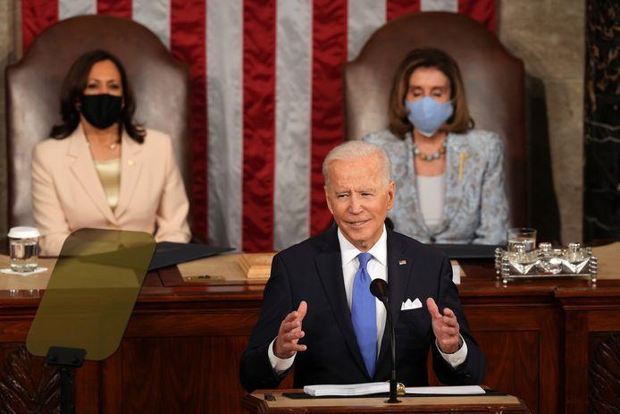 Kamala Harris, Joe Biden en Nancy Pelosi.