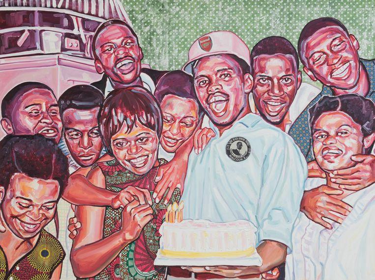 Esiri Erheriene-Essi: The Birthday Party (150 x 200 cm) 2021. Beeld Galerie Ron Mandos