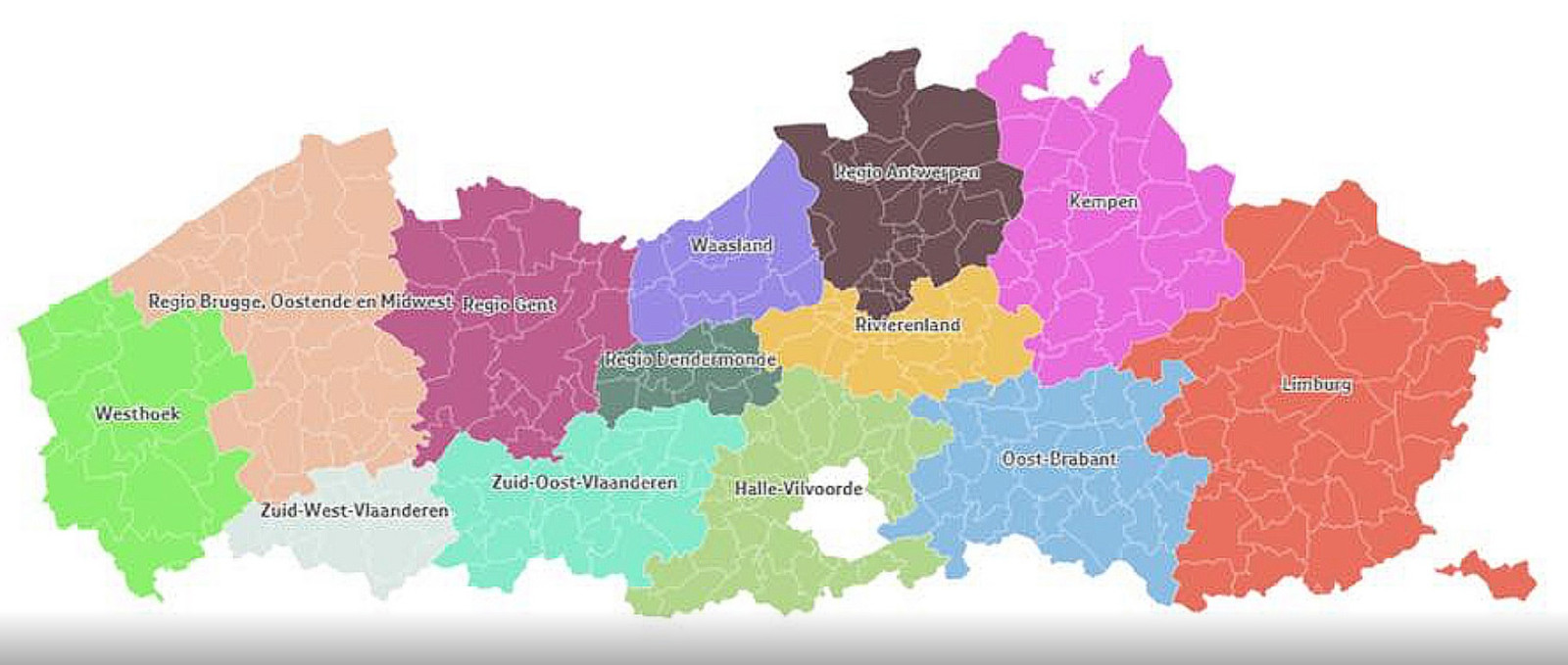 Het voorstel van Somers, waarbij Vlaanderen opgedeeld wordt in 13 regio's. Binnen elke regio zijn samenwerkingsverbanden mogelijk, erbuiten moeilijker.